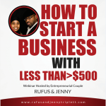 Jenny Triplett, Rufus Triplett, business webinar, how to start a business with less than $500